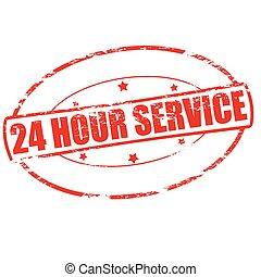 Twenty four hour service - Rubber stamp with text twenty...