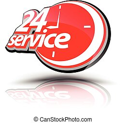 Twenty four hour service symbol. Vector illustration. Can...