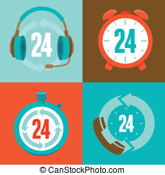 Twenty four hour support - flat vector icons and signs