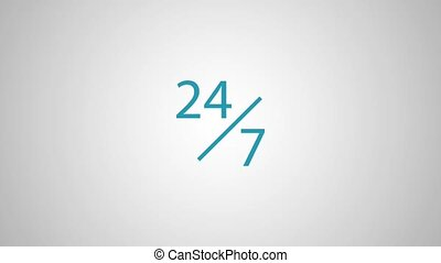 Twenty four hours seven days service HD animation