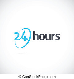 Twenty Four Hours Symbol Icon or Signboard For Your Business...