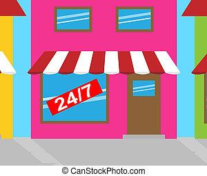 Twenty Four Seven Shop Means All Week 3d Illustration