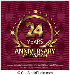 Twenty four years anniversary golden. anniversary template design for web, game ,Creative poster, booklet, leaflet, flyer, magazine, invitation card - Vector