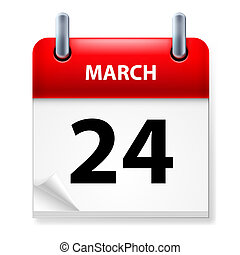 Calendar - Twenty-fourth March in Calendar icon on white...