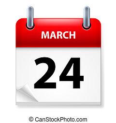 Calendar - Twenty-fourth March in Calendar icon on white...