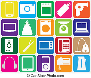 Twenty gadgets for home on gray background. Vector...