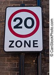Twenty Mile speed limit traffic sign, UK
