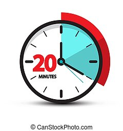 Twenty Minutes Clock Face Icon. Vector Smbol Isolated on White Backgroud,.