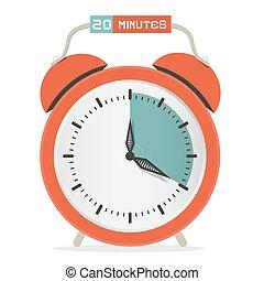 Twenty Minutes Stop Watch - Alarm Clock Vector Illustration