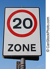 Twenty m.p.h. Speed Limit Sign