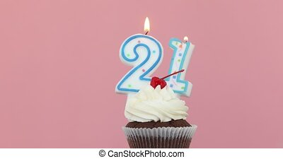 Twenty one 21 candle in cupcake pink background - Number ...
