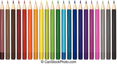 Twenty one shades of color pencils illustration