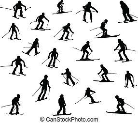 Twenty one silhouette of skiers.