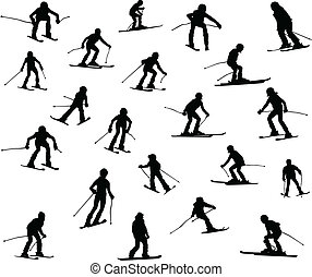 Twenty one silhouette of skiers. Downhill racing, a...