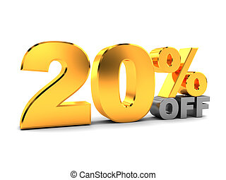twenty percent discount - 3d illustration of 20 percent...