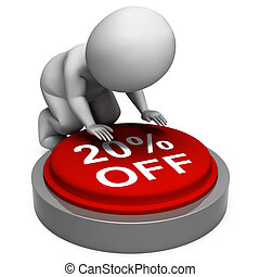 Twenty Percent Off Button Means 20 Price Markdown