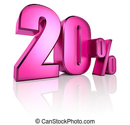Twenty Percent Sign - Pink twenty percent sign isolated on...