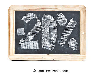 Twenty percent written on blackboard over white background