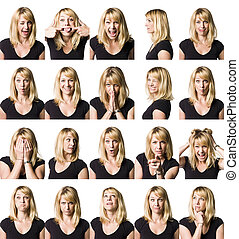 Twenty portrait of a woman with differnet expressions