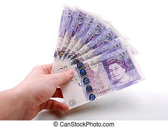 twenty pound notes in hand