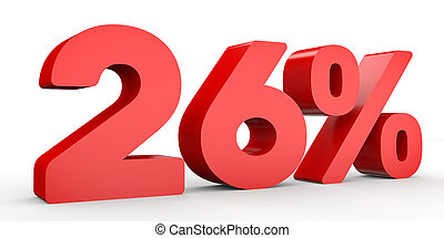 Twenty six percent off. Discount 26 %. 3D illustration on...