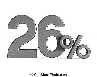 twenty six percent on white background. Isolated 3D illustration