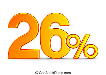 twenty six percent on white background. Isolated 3D...