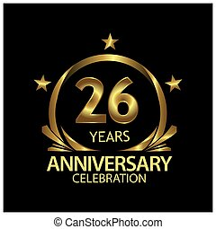 Twenty six years anniversary golden. anniversary template design for web, game ,Creative poster, booklet, leaflet, flyer, magazine, invitation card - Vector
