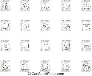 Twenty social icons in wavy style - Twenty most common...