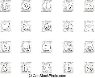 Twenty social icons in wavy style