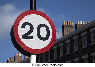 Twenty Speed Sign in Urban Setting