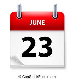 Twenty-third June in Calendar icon on white background