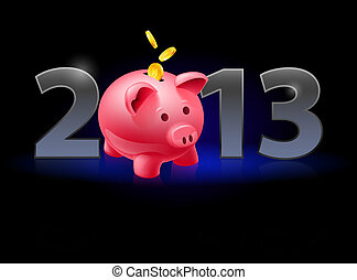 Twenty Thirteen Year. Piggy bank with coins. Illustration on...