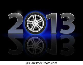 Twenty Thirteen Year. Car wheel. Illustration on black...