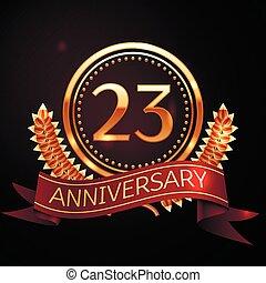 Twenty three years anniversary celebration with golden ring...