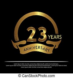 Twenty three years anniversary golden. anniversary template design for web, game ,Creative poster, booklet, leaflet, flyer, magazine, invitation card - Vector