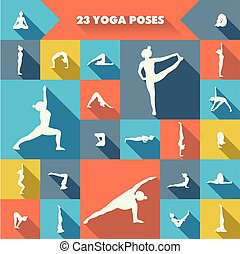 Twenty three yoga poses. - Set of twenty three yoga poses...