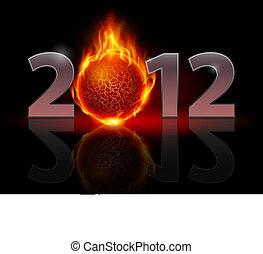 Twenty Twelve year. Fire ball. Illustration on black...