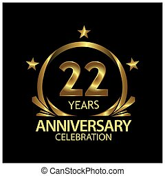 Twenty two years anniversary golden. anniversary template design for web, game ,Creative poster, booklet, leaflet, flyer, magazine, invitation card - Vector
