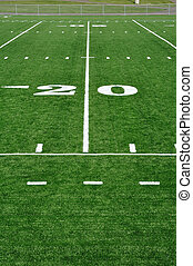 Twenty Yard Line on American Football Field - 20 Yard Line...