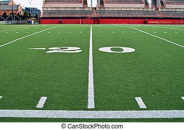 Twenty Yardline - A sideline view of the twenty yardline on...