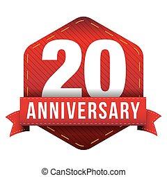 Twenty year anniversary badge with red ribbon