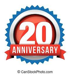 Twenty years anniversary badge with red ribbon