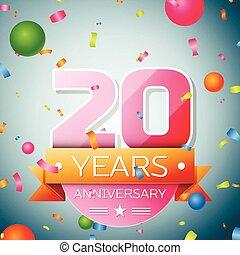 Twenty years anniversary celebration background. Anniversary ribbon