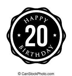 Twenty years happy birthday badge ribbon