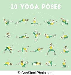 Twenty yoga poses