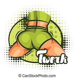 Twerk and booty dance illustration for dancing studio.