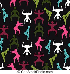 Twerk and booty dance seamless pattern with stylized...