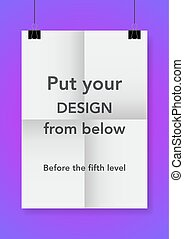Twice a folded poster with clamps. Vector illustration.
