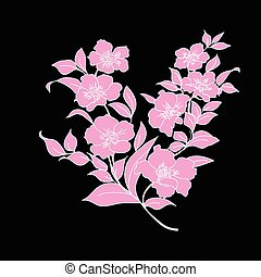twig cherry blossoms - twig sakura blossoms. Vector...